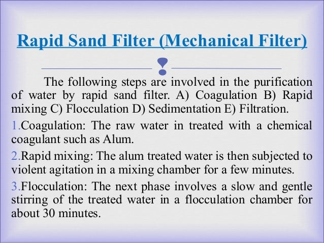 steps involved in purification of water