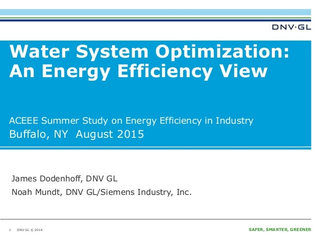 Water system optimization an energy efficiency view final presentation