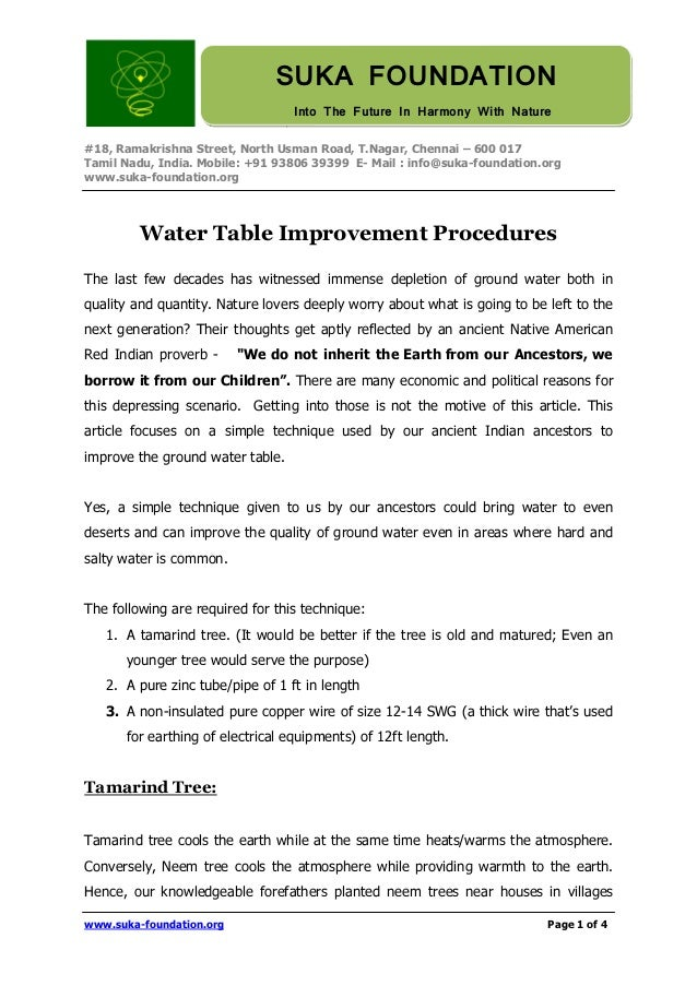 Water table improvement procedures english greentooth Choice Image