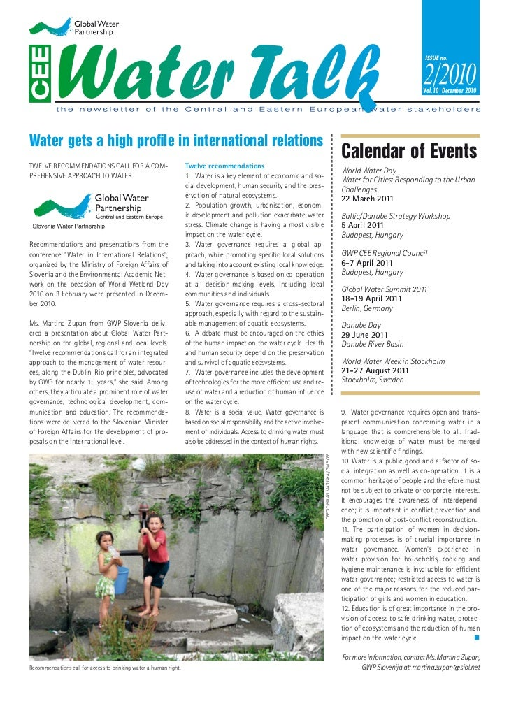 Vol. 10 December 2010Water gets a high profile in international relationsTWELVE RECOMMENDATIONS CALL FOR A COM-            ...