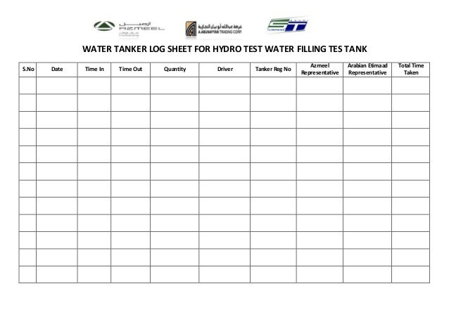 Water tanker log sheet for Fire alarm log book template