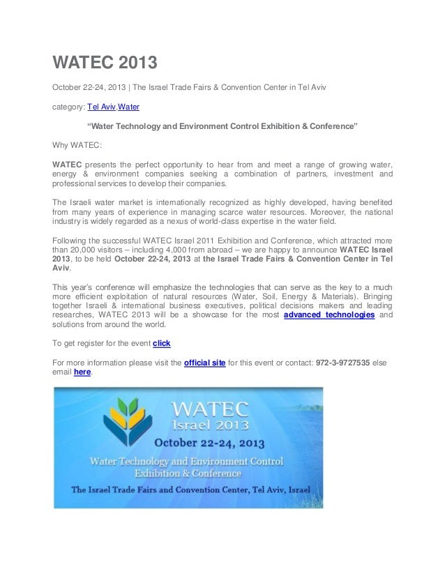 "WATEC 2013 October 22-24, 2013 | The Israel Trade Fairs & Convention Center in Tel Aviv category: Tel Aviv,Water ""Water Te..."