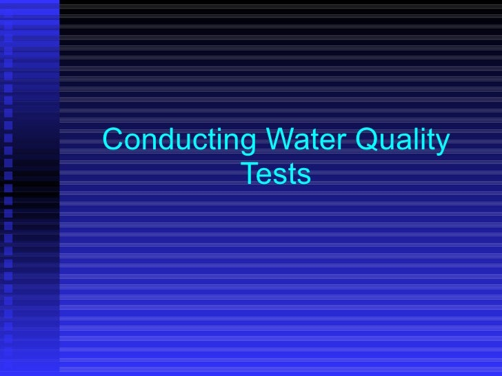 Conducting Water Quality Tests