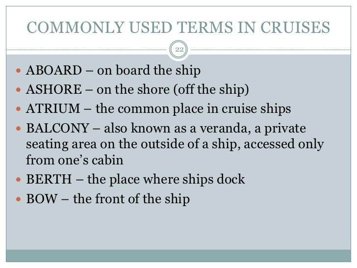 Water Transpo Lecture - Cruise ship terms