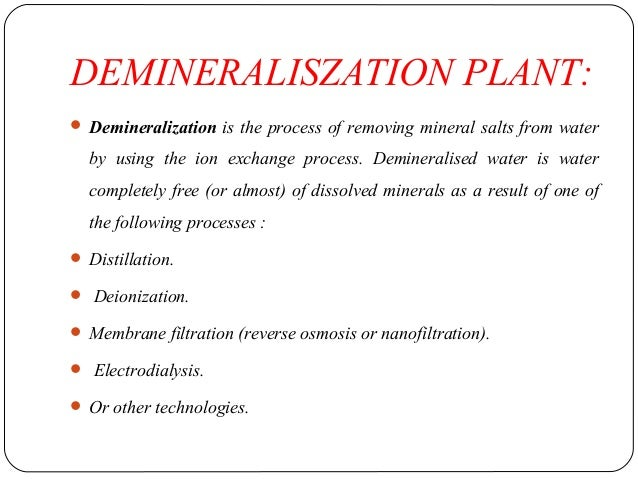 Water Treatment By Demineralisation