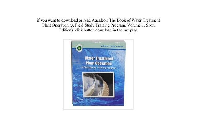 Books Water Treatment Plant Operation A Field Study Training Program