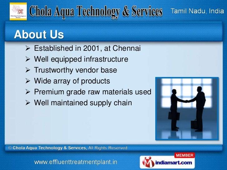 Water Treatment Technologies by Chola Aqua Technology & Services, Chennai Slide 2