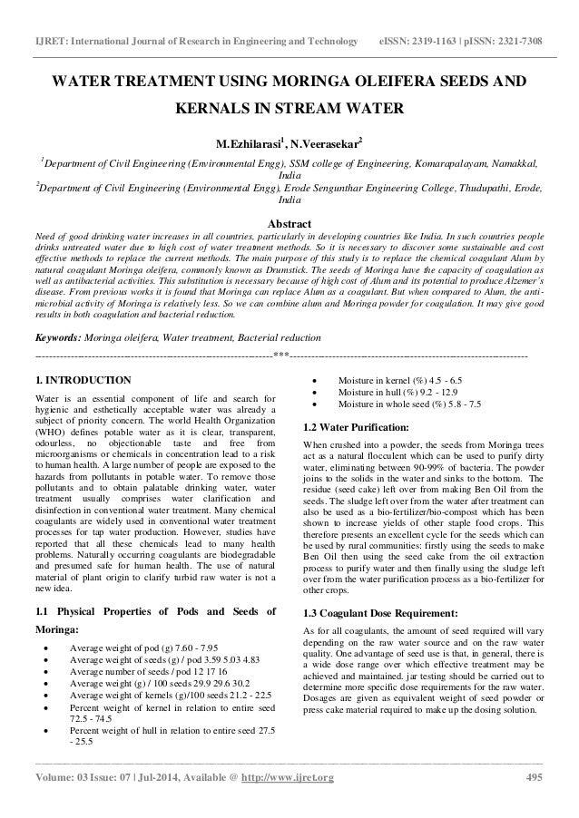 Water treatment using moringa oleifera seeds and kernals in