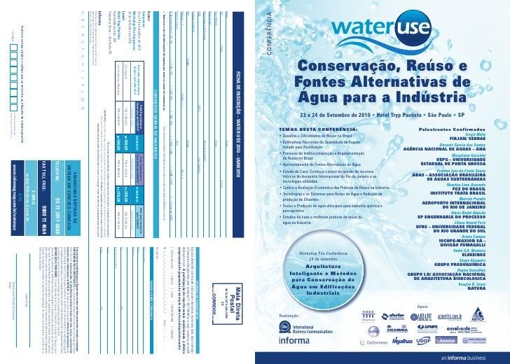 CONFERÊNCIA                           Conservação, Reúso e                       Fontes Alternativas de                   ...