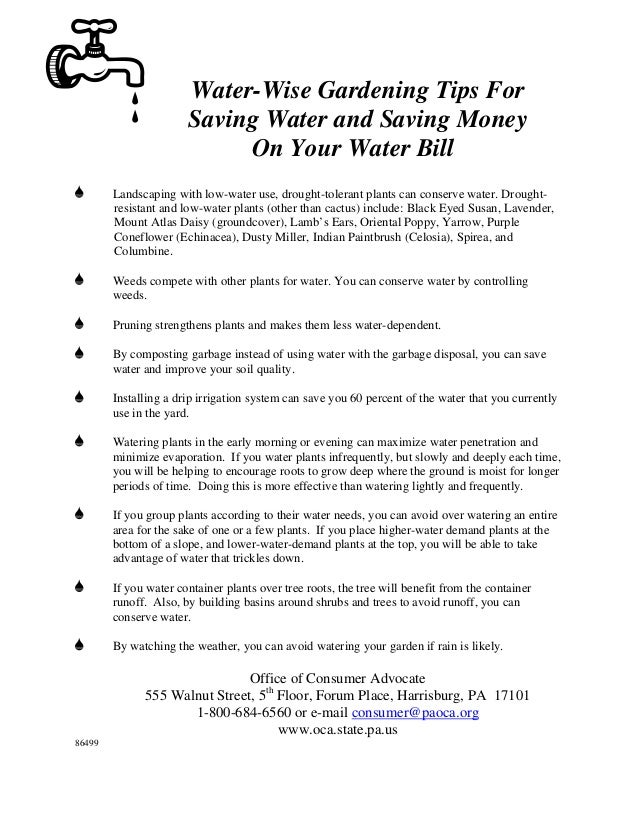 Water-Wise Gardening Tips For                       Saving Water and Saving Money                            On Your Water...