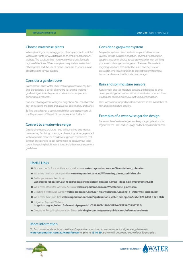 Waterwise Gardens Information Sheet Australia Water Corporation
