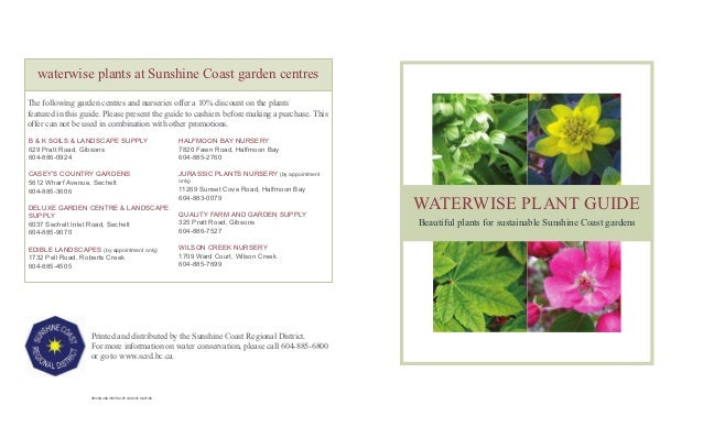 waterwise plants at Sunshine Coast garden centresThe following garden centres and nurseries offer a 10% discount on the pl...