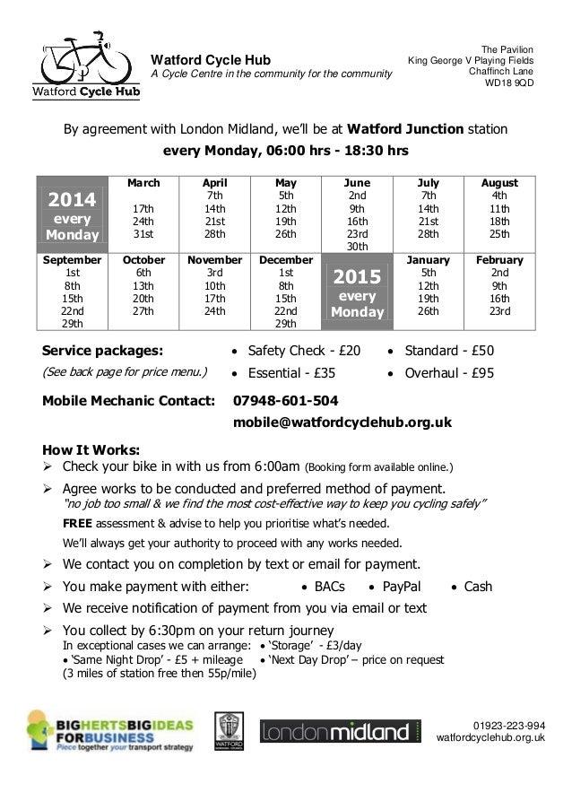 watford cycle hub mobile mechanic dr bike flyer at watford junction