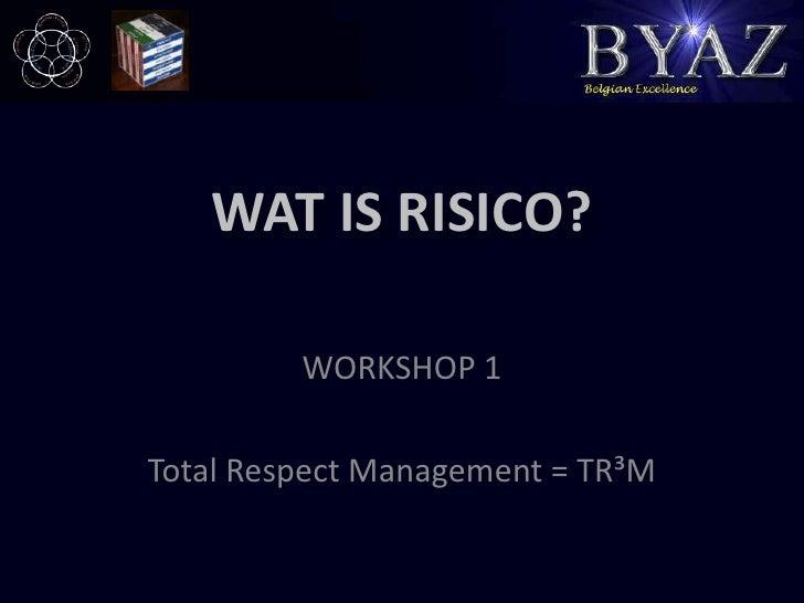 WAT IS RISICO?<br />WORKSHOP 1<br />Total Respect Management = TR³M<br />