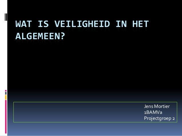 WAT IS VEILIGHEID IN HETALGEMEEN?                       Jens Mortier                       1BAMVa                       Pr...