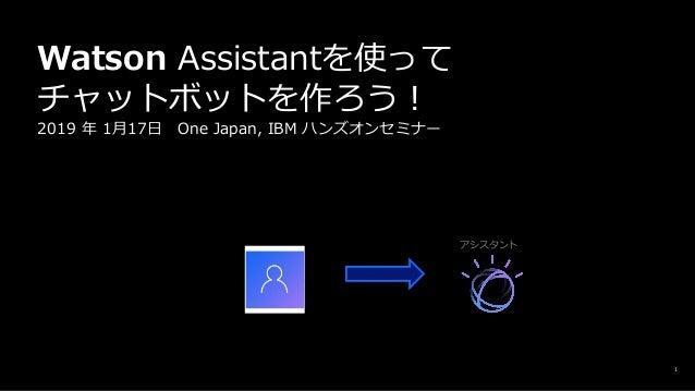 1 Watson Assistantを使って チャットボットを作ろう︕ 2019 年 1⽉17⽇ One Japan, IBM ハンズオンセミナー アシスタント 名古屋グランパスエイトに ついて教えてください はい!何でも聞いてください!