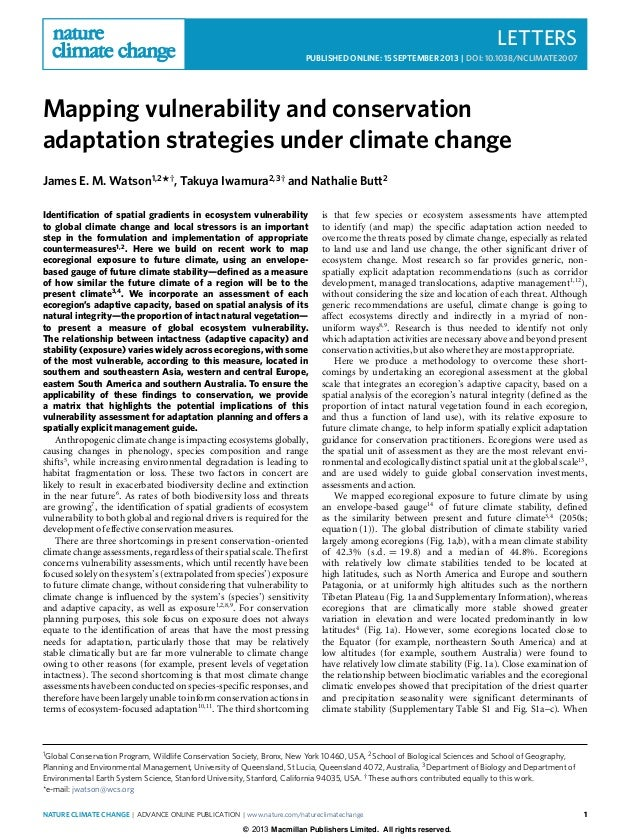 LETTERS PUBLISHED ONLINE: 15 SEPTEMBER 2013 | DOI: 10.1038/NCLIMATE2007 Mapping vulnerability and conservation adaptation ...