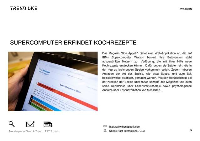 """SUPERCOMPUTER ERFINDET KOCHREZEPTE Das Magazin """"Bon Appetit"""" bietet eine Web-Applikation an, die auf IBMs Supercomputer Wa..."""