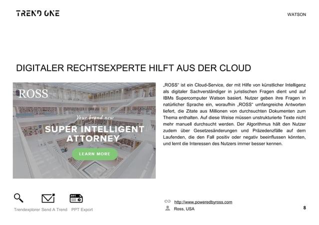 """DIGITALER RECHTSEXPERTE HILFT AUS DER CLOUD """"ROSS"""" ist ein Cloud-Service, der mit Hilfe von künstlicher Intelligenz als di..."""
