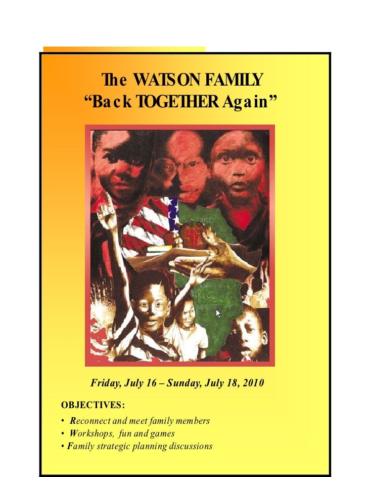 """BLACK HISTORY      WATSON FAMIL DINNER                   Y               The WATSON FAMILY       """"Back to the Basics""""     ..."""