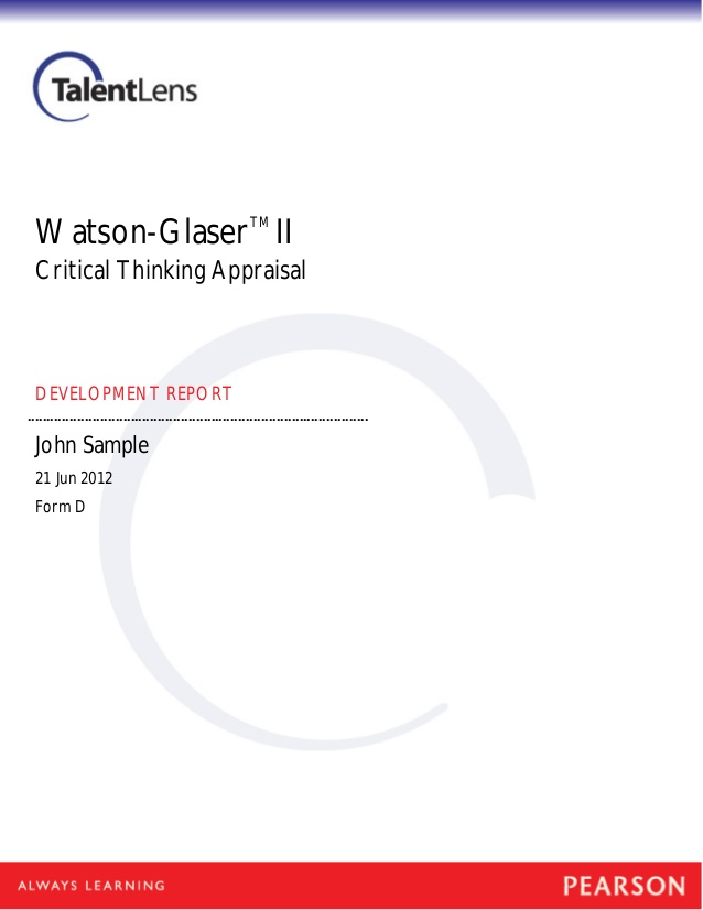 Watson-glaser critical thinking appraisal study guide