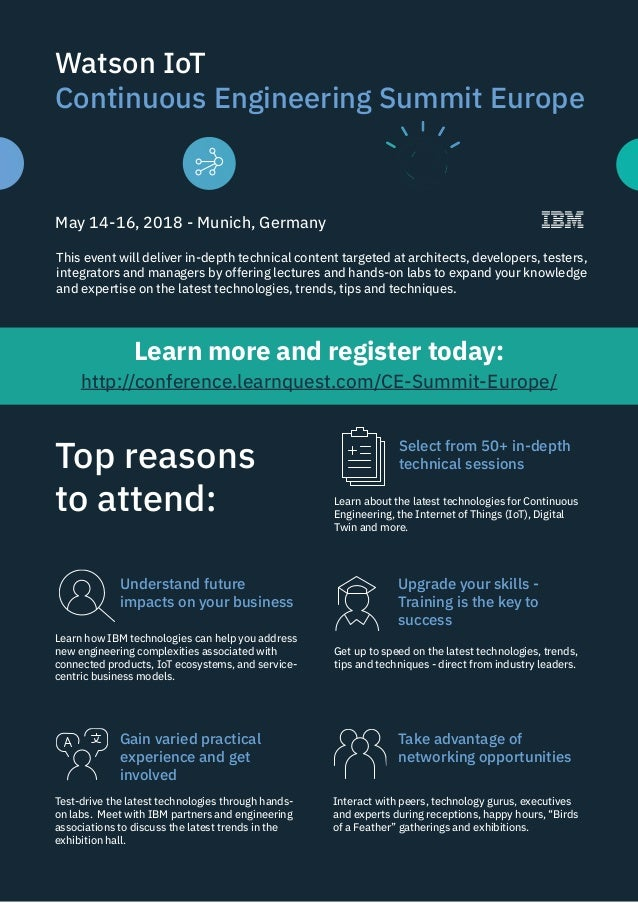 Watson IoT Continuous Engineering Summit Europe May 14-16, 2018 - Munich, Germany This event will deliver in-depth technic...