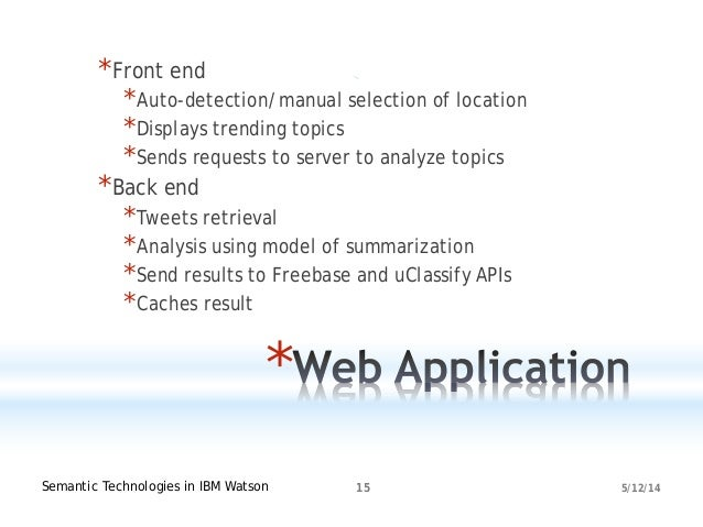 5/12/14Semantic Technologies in IBM Watson 15 * *Front end *Auto-detection/manual selection of location *Displays trending...