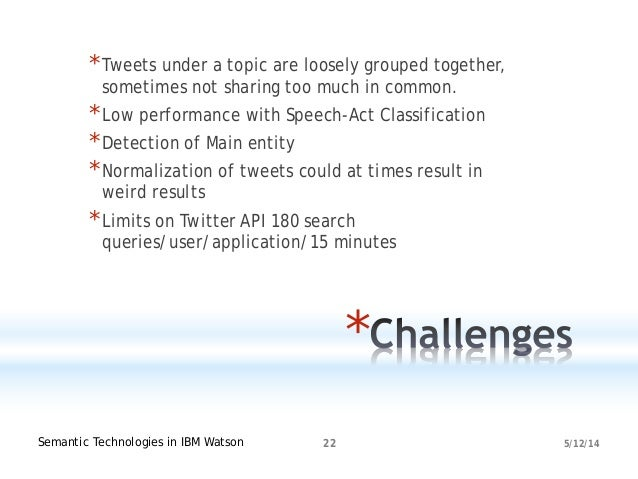 5/12/14Semantic Technologies in IBM Watson 22 * *Tweets under a topic are loosely grouped together, sometimes not sharing ...