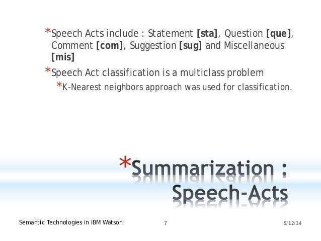 5/12/14Semantic Technologies in IBM Watson 7 * *Speech Acts include : Statement [sta], Question [que], Comment [com], Sugg...