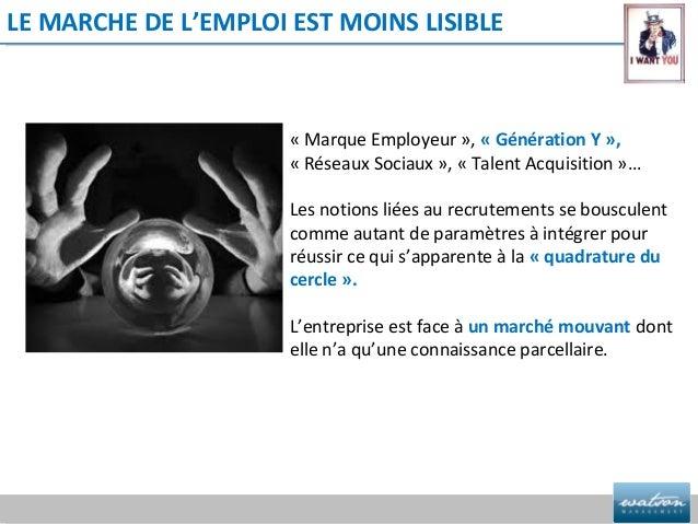 LE MARCHE DE L'EMPLOI EST MOINS LISIBLE                      « Marque Employeur », « Génération Y »,                      ...
