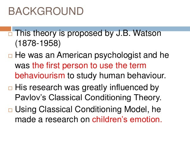 pablo s conditioning theory Similarly, craik and lockhart's levels of processing (1972) theory on memory   this forward conditioning is more likely to lead to a conditioned response than.