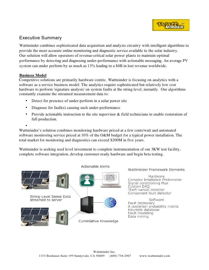 Executive Summary Wattminder combines sophisticated data acquisition and analysis circuitry with intelligent algorithms to...