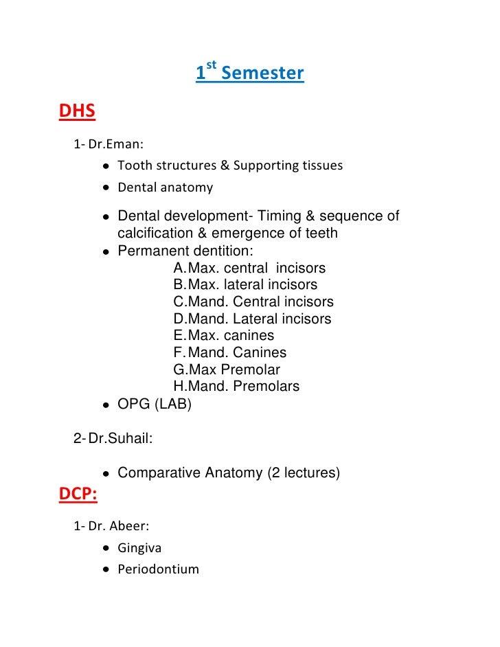 1st Semester<br />DHS<br /><ul><li>Dr.Eman: