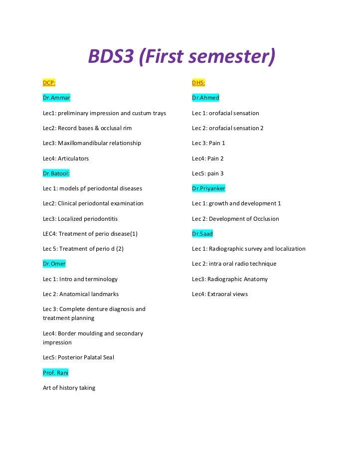 BDS3 (First semester)DCP:                                            DHS:Dr.Ammar                                        D...