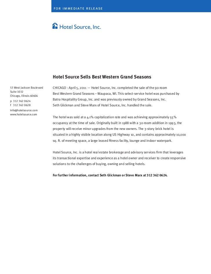 for immediate relea se                            Hotel Source Sells Best Western Grand Seasons53 West Jackson Boulevard  ...