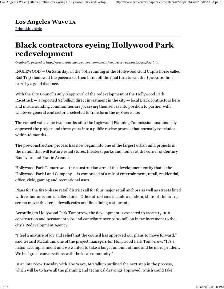 Los Angeles Wave | Black contractors eyeing Hollywood Park redevelop...   http://www.wavenewspapers.com/internal?st=print&...