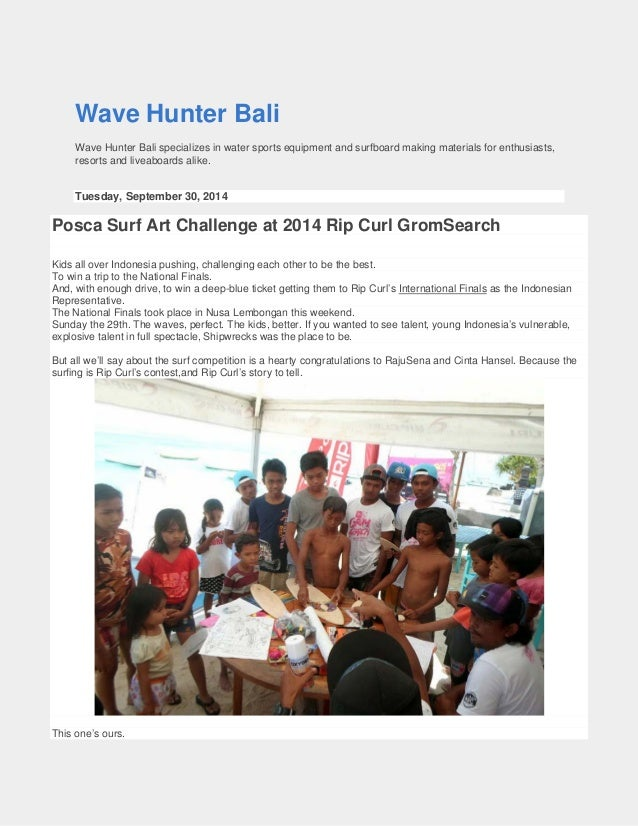 Wave Hunter Bali  Wave Hunter Bali specializes in water sports equipment and surfboard making materials for enthusiasts, r...