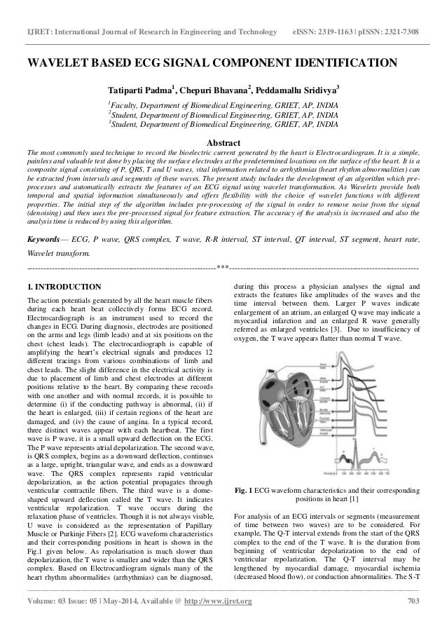 Wavelet based ecg signal component identification