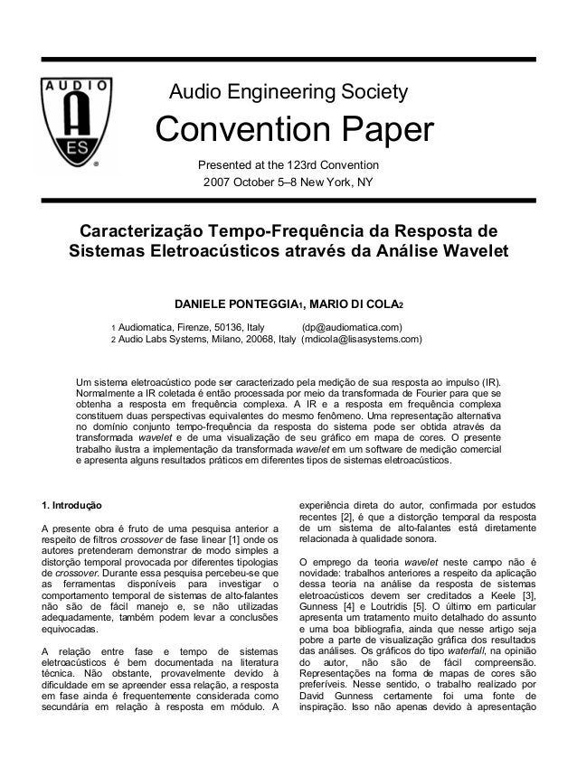 Audio Engineering Society  Convention Paper Presented at the 123rd Convention 2007 October 5–8 New York, NY  Caracterizaçã...