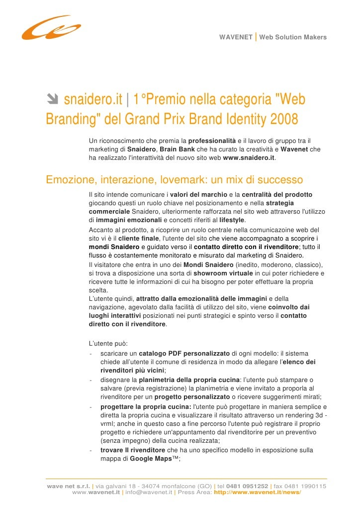 WAVENET | Web Solution Makers        snaidero.it | 1° Premio nella categoria quot;Web Brandingquot; del Grand Prix Brand I...