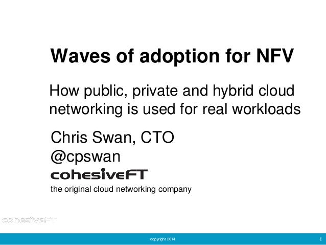 copyright 2014 1 Waves of adoption for NFV Chris Swan, CTO @cpswan the original cloud networking company How public, priva...