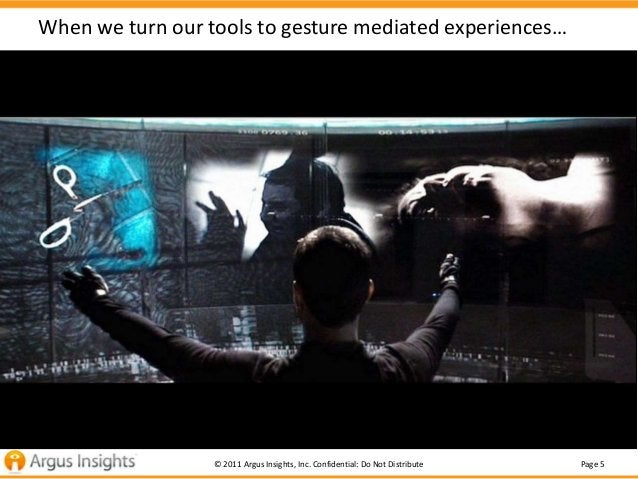 When we turn our tools to gesture mediated experiences…                  © 2011 Argus Insights, Inc. Confidential: Do Not ...