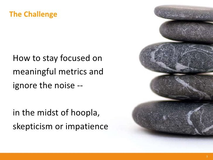 The Challenge     How to stay focused on meaningful metrics and ignore the noise --  in the midst of hoopla, skepticism or...