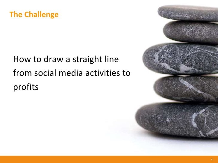 The Challenge     How to draw a straight line from social media activities to profits                                     ...