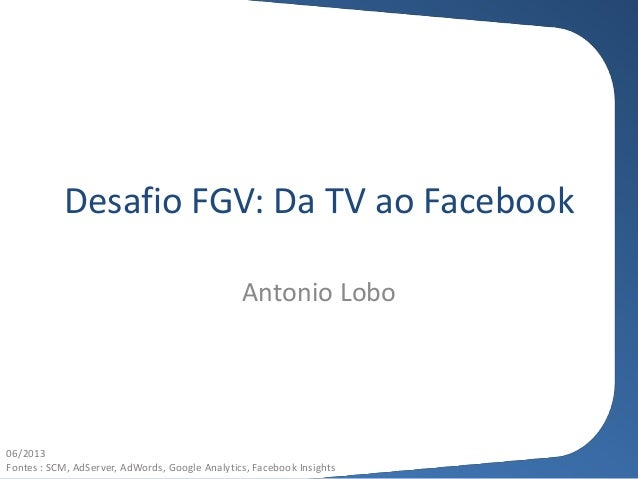 Desafio FGV: Da TV ao Facebook Antonio Lobo 06/2013 Fontes : SCM, AdServer, AdWords, Google Analytics, Facebook Insights