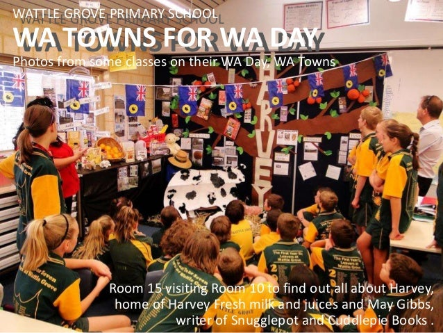 WATTLE GROVE PRIMARY SCHOOL WA TOWNS FOR WA DAY WATTLE GROVE PRIMARY SCHOOL WA TOWNS FOR WA DAY Photos from some classes o...