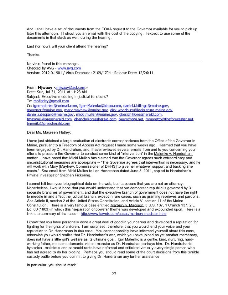 Waxman Emails To Judy 2011