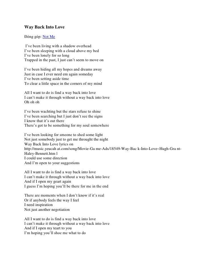 The Way Back To Love Lyrics