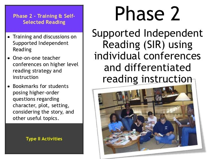 Phase 2<br />Supported Independent Reading (SIR) using individual conferences and differentiated reading instruction<br />