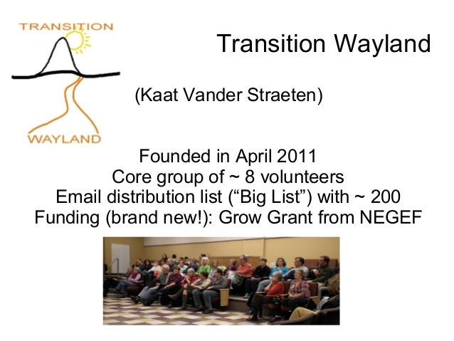 "Transition Wayland(Kaat Vander Straeten)Founded in April 2011Core group of ~ 8 volunteersEmail distribution list (""Big Lis..."